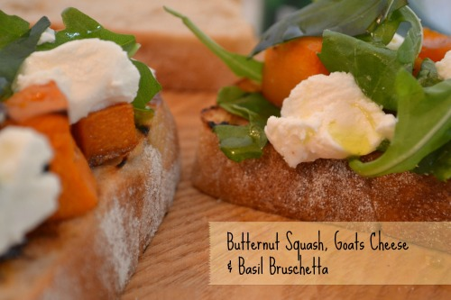 Butternut Squash Goats Cheese and Basil Bruschetta