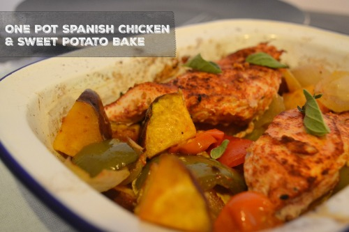 One Pot Spanish CHicken & Sweet Potato Bake